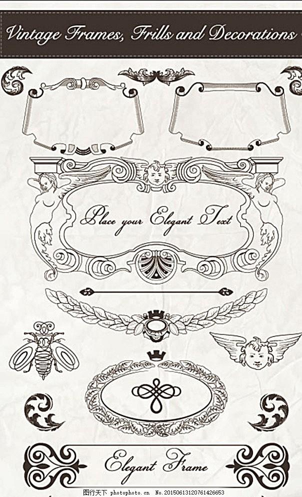 花纹 边角 边框 徽章 边纹 纹样 矢量素材 昆虫 底纹 设计 底纹边框