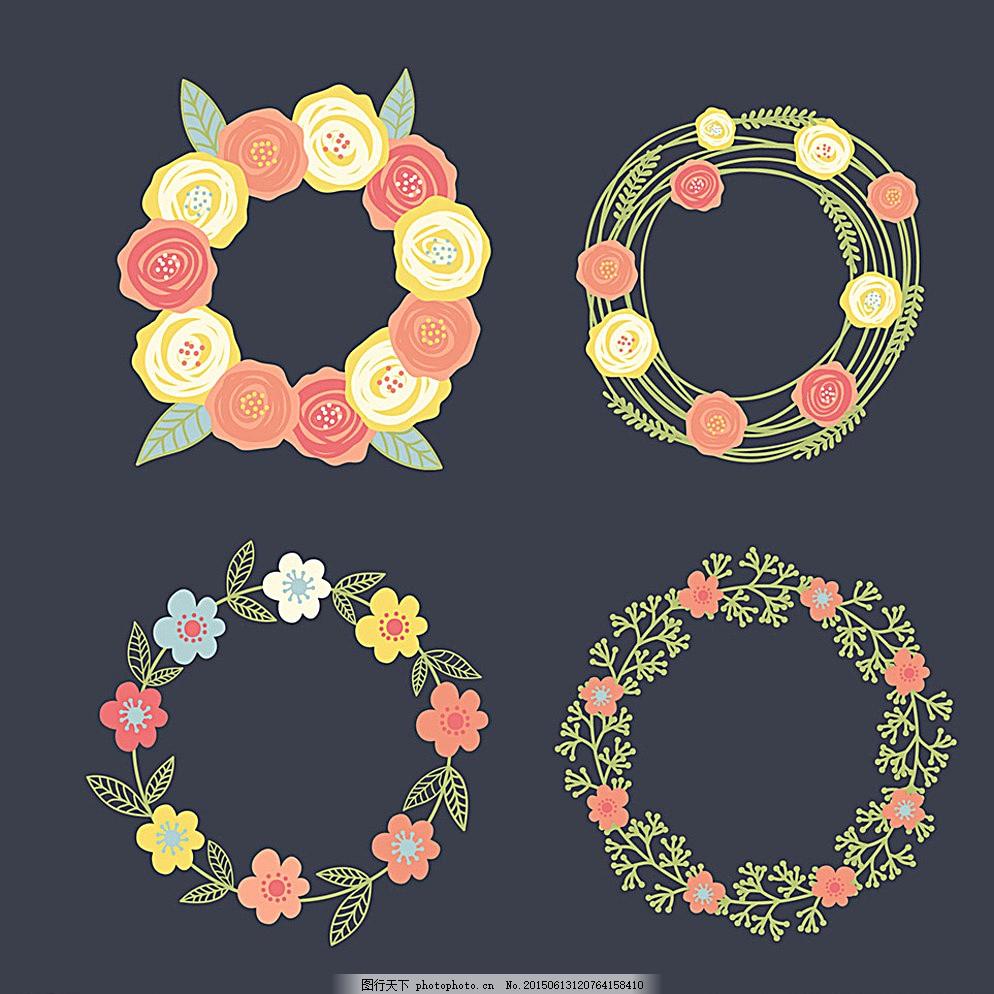 简单手绘花环图片