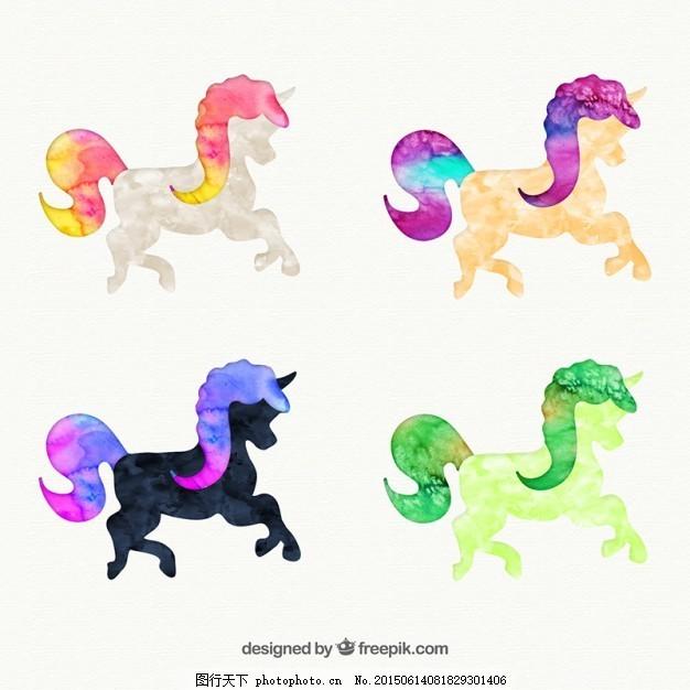 手绘的独角兽 摘要 水彩 动物 油漆 马 精灵 童话 手画 故事画