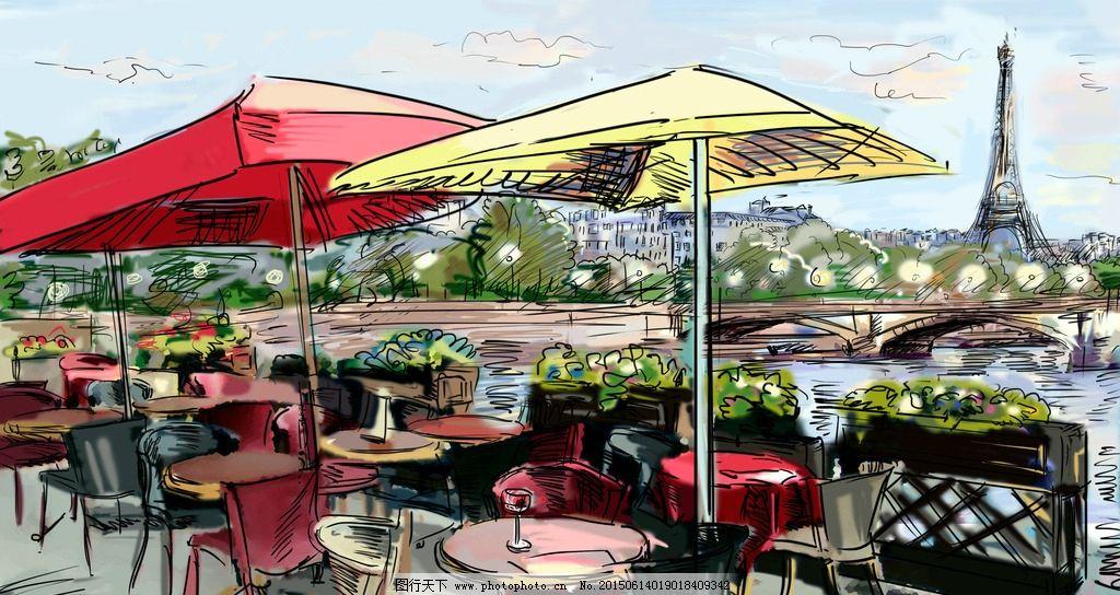 手绘巴黎 手绘巴黎街景