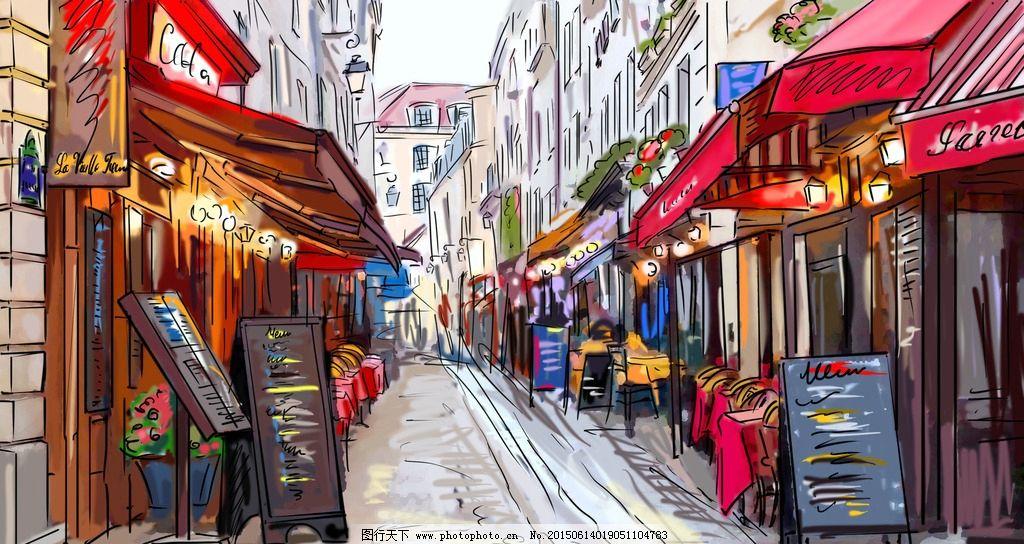 手绘巴黎街景图片