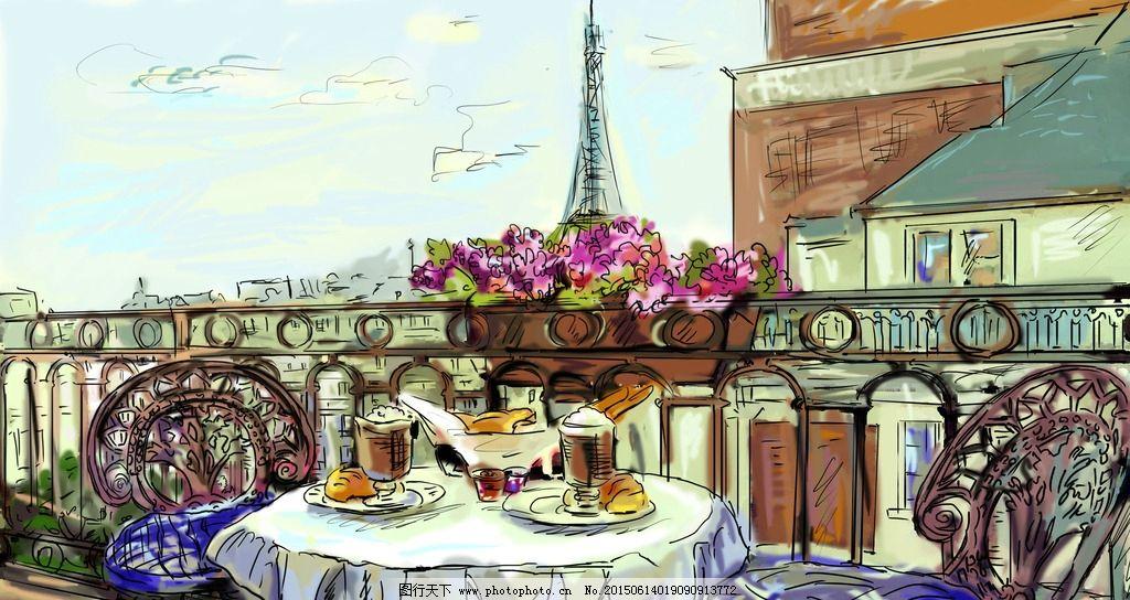 手绘街景 手绘风景 埃菲尔铁塔