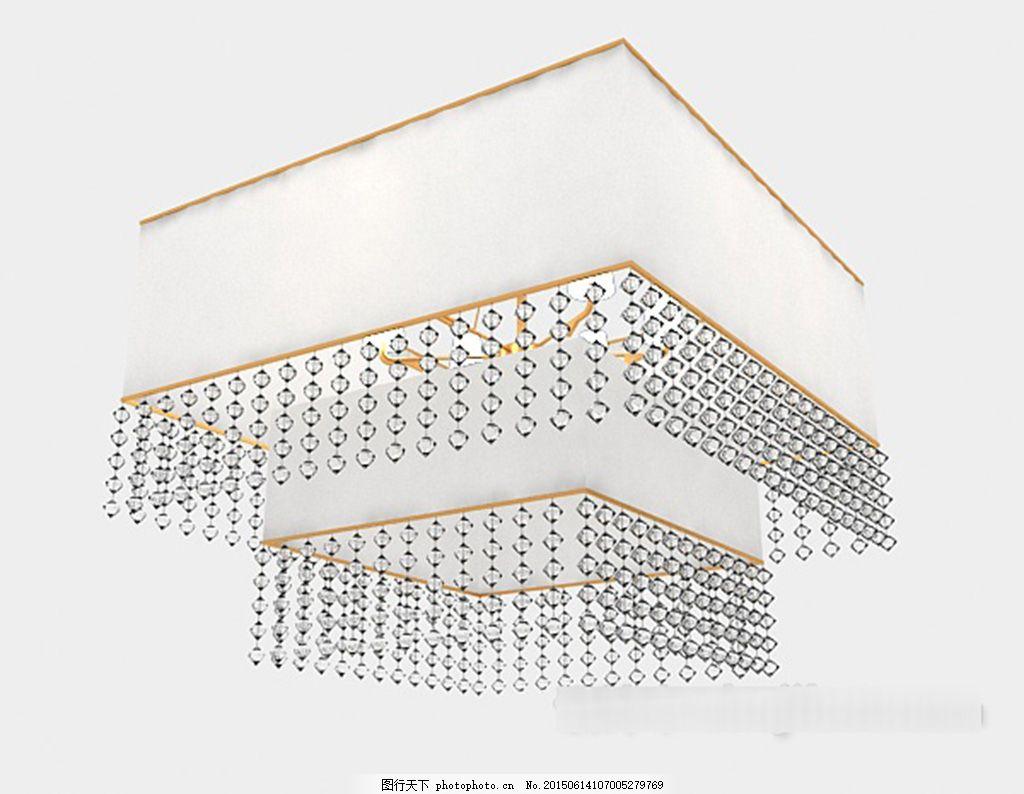 简约个性方形吊灯3d模型下载