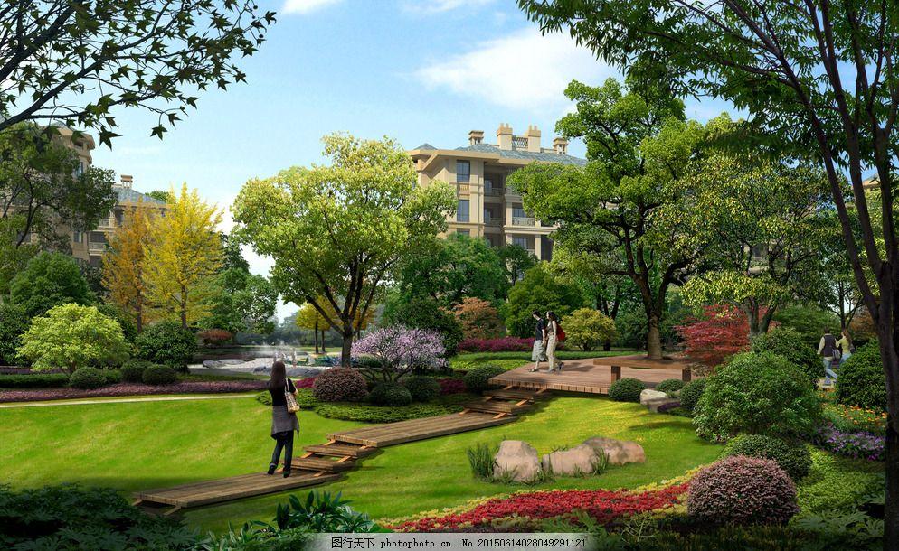 小区绿地规划 住宅 植物配置 景观 湿地 湿地公园 人工湿地 效果图
