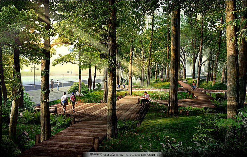 公园景观透视效果图