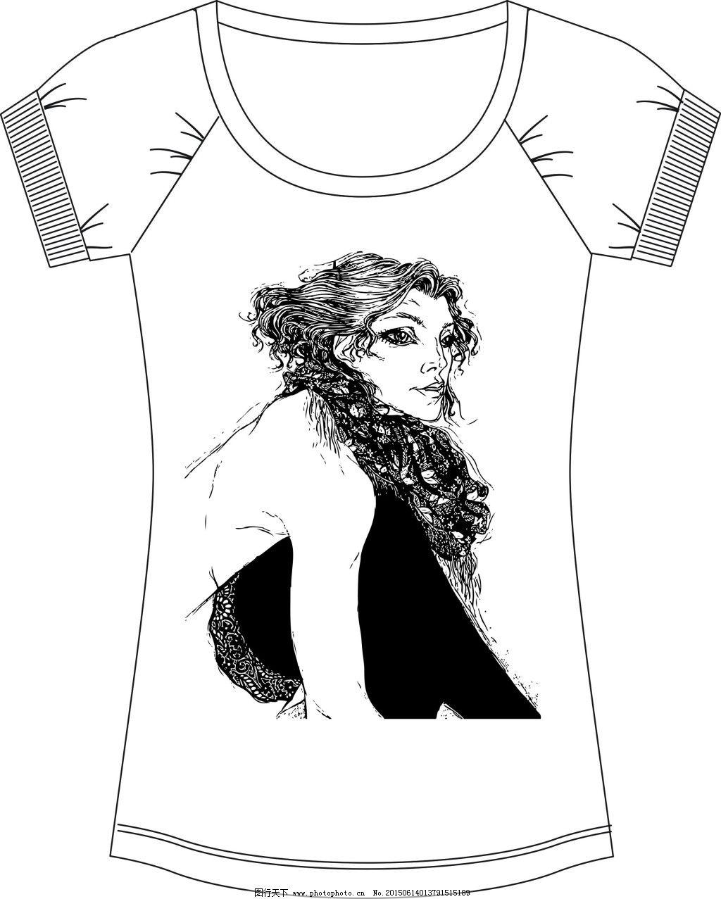 黑白卷发女郎t恤印花,性感 图案花型-图行天下图库