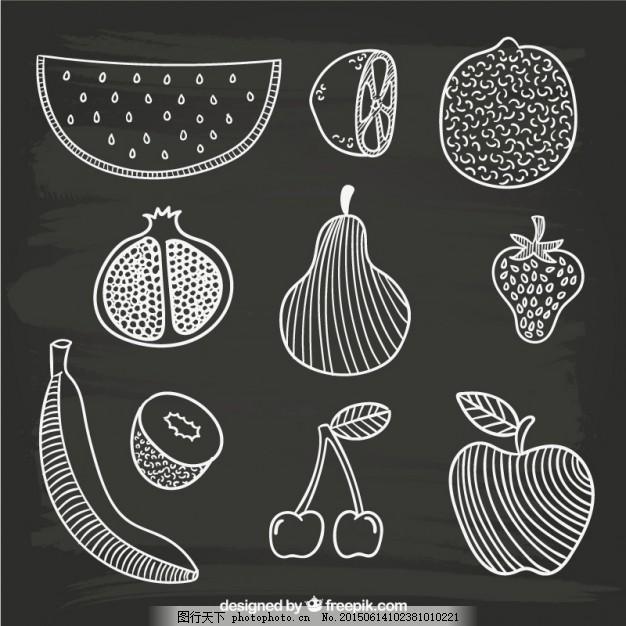 手绘水果 一方面 黑板 涂鸦 画写生 黑色