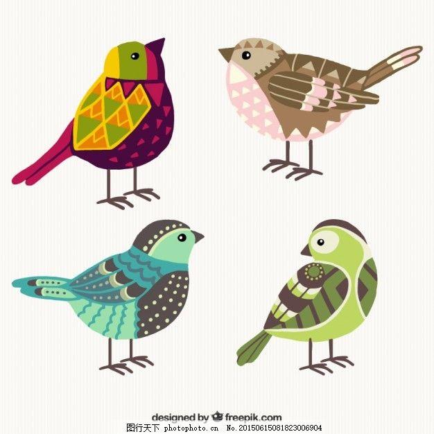 手绘彩色几何鸟 摘要一方面 动物 鸟类 丰富多彩 绘画 手工绘图