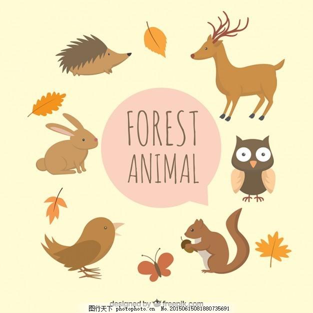 可爱的手绘森林动物的叶子 鸟 蝴蝶 自然 树叶 秋天 手画 猫头鹰