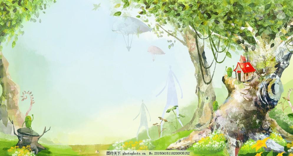 儿童手绘 卡通画 儿童画 儿童图 底纹 插图 手绘漫画背景 手绘风景画