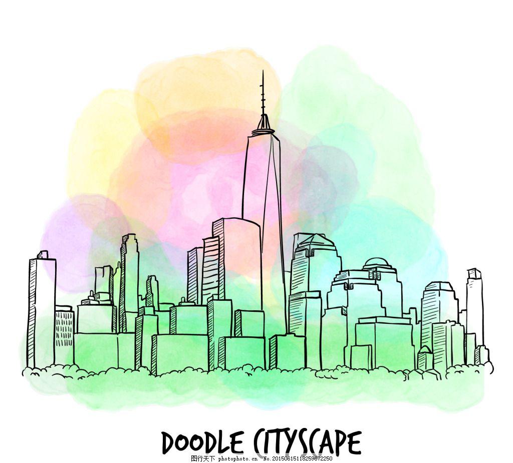 手画水彩城市 手绘城市 城市背景 水彩城市 手绘水彩城市 ai 白色 ai