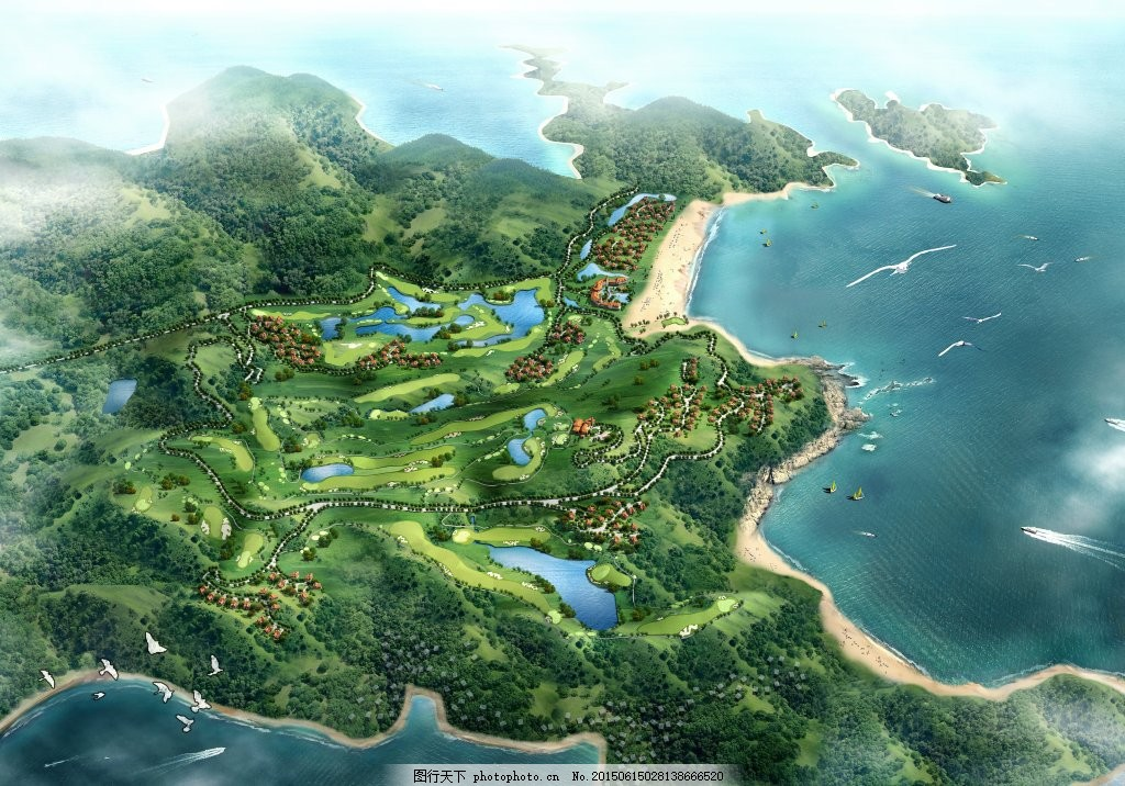 景观规划设计 鸟瞰 平面图 效果图 生态村 湿地规划设计 山体 水体 ps