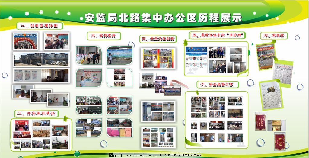 展板 绿色展板 历程展示 照片排版 单位历程展示 设计 广告设计 展板