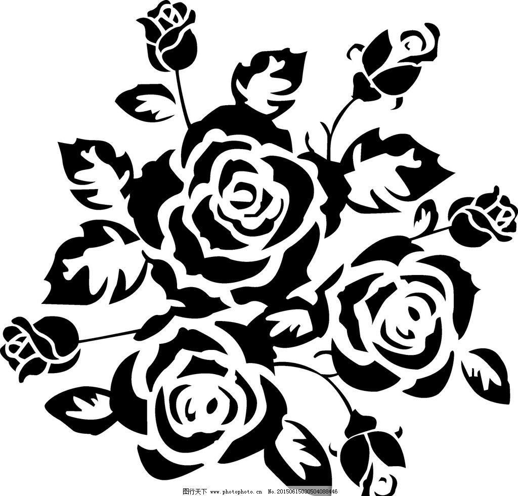 玫瑰花 黑色 矢量 cdr
