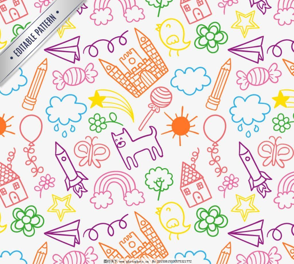 童趣图案背景彩绘卡通图案背景图片