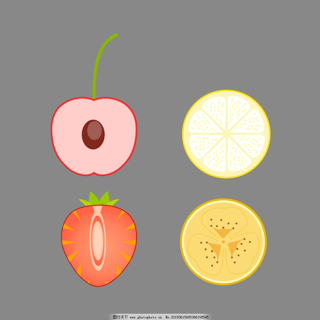 手绘水果切面 手绘水果切面免费下载 草莓 柠檬 香瓜 樱桃 樱桃