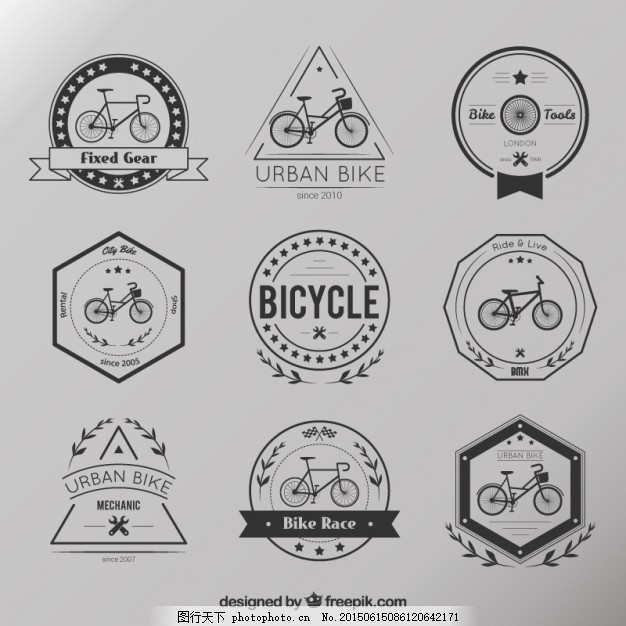 复古自行车徽章