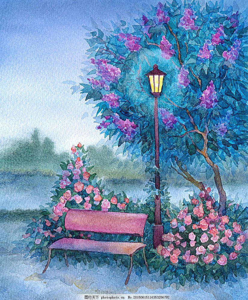 水彩路灯椅子插画 水彩画 风景插画 风景插图 卡通风景 水彩风景