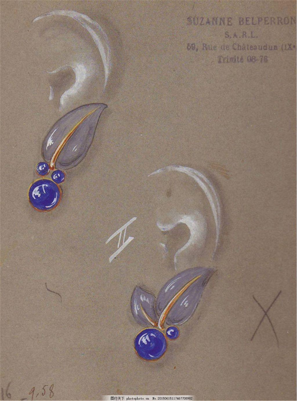 手绘简约珠宝图片素材 美丽 彩色 创意 时尚 大气 灰色