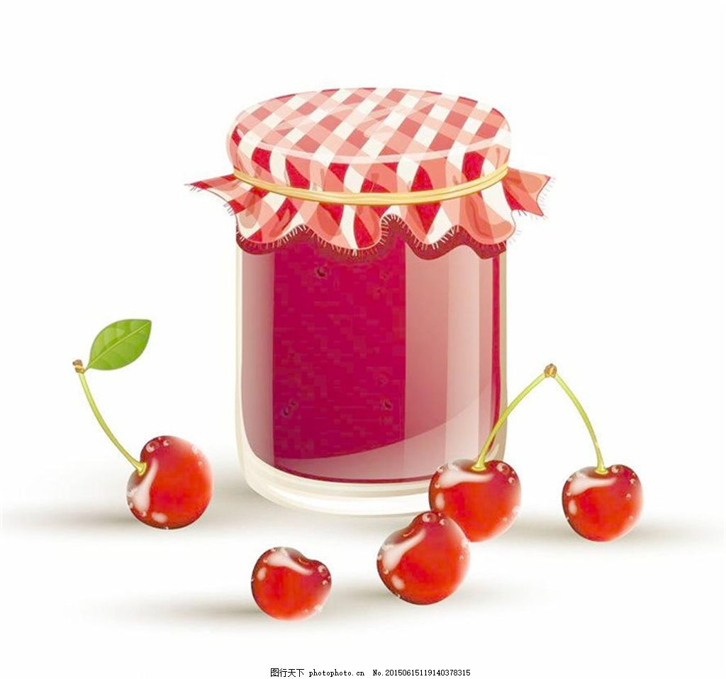 手绘樱桃与樱桃果酱