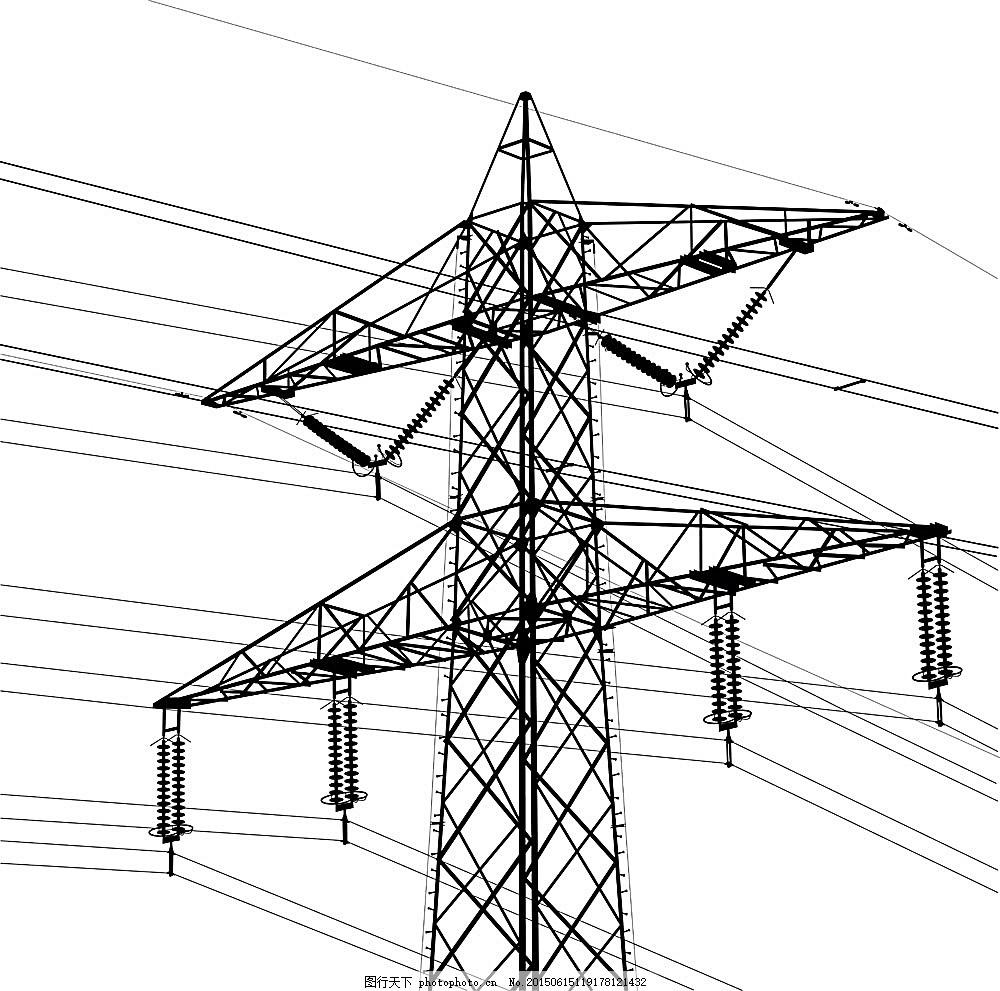 高压线与输电塔 高压输电塔 电力输送 电线杆 其他 生活百科 矢量素材图片