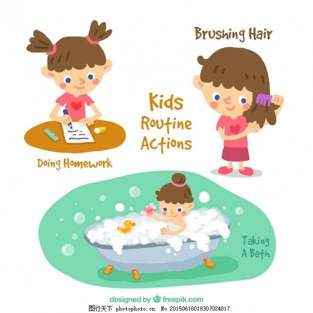 手绘小女孩做活动 儿童 手 头发 卡通 快乐 性格 孩子 男孩 卡通人物