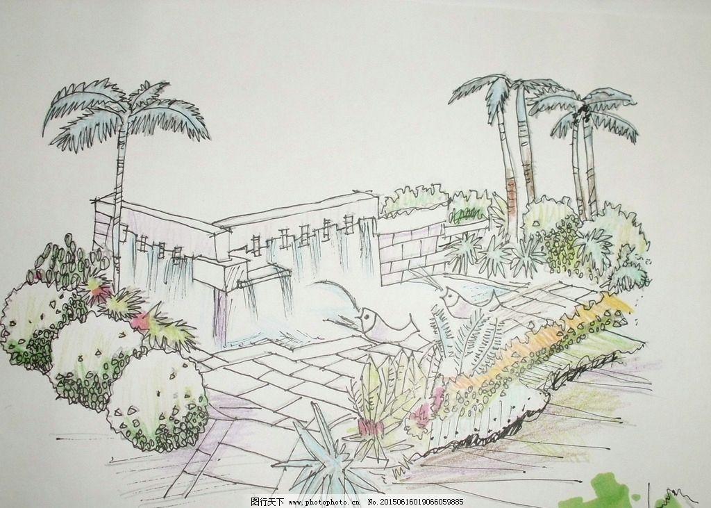 景观设计 手绘效果图 景观小品 水景景观 室外手绘 设计 环境设计 jpg