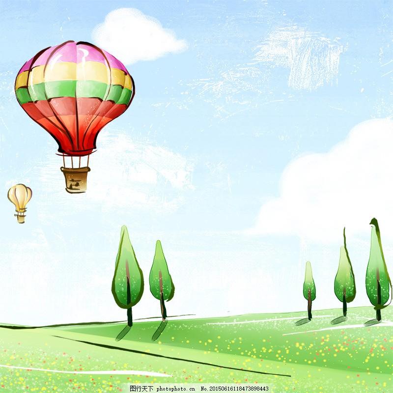 手绘春季背景 热气球 树木 手绘背景 卡通背景 春季 psd 白色