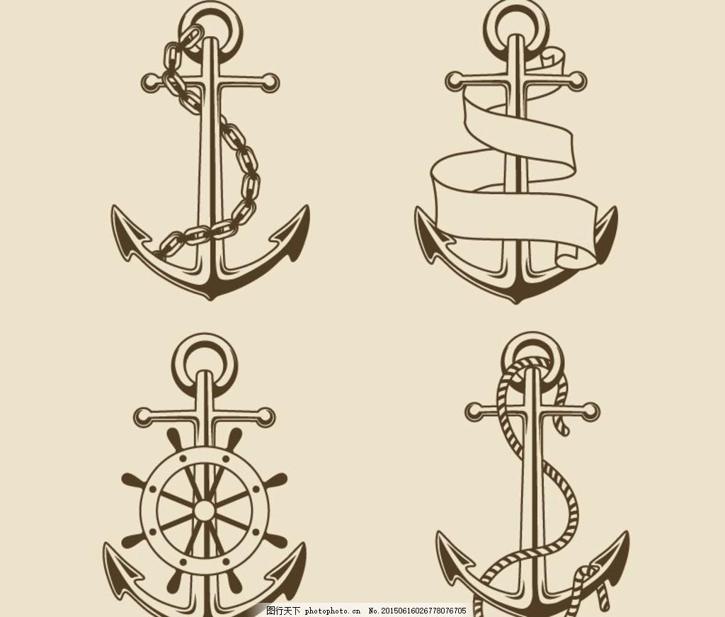 复古手绘船锚矢量素材