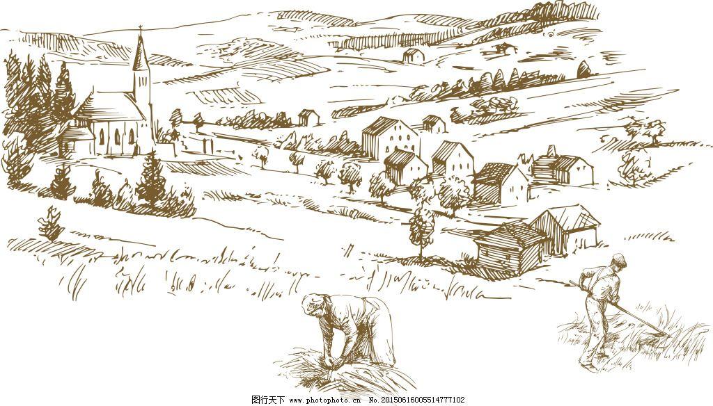 手绘村庄免费下载 手绘 手绘 手绘小村 手绘村庄 手绘农田 手绘田野