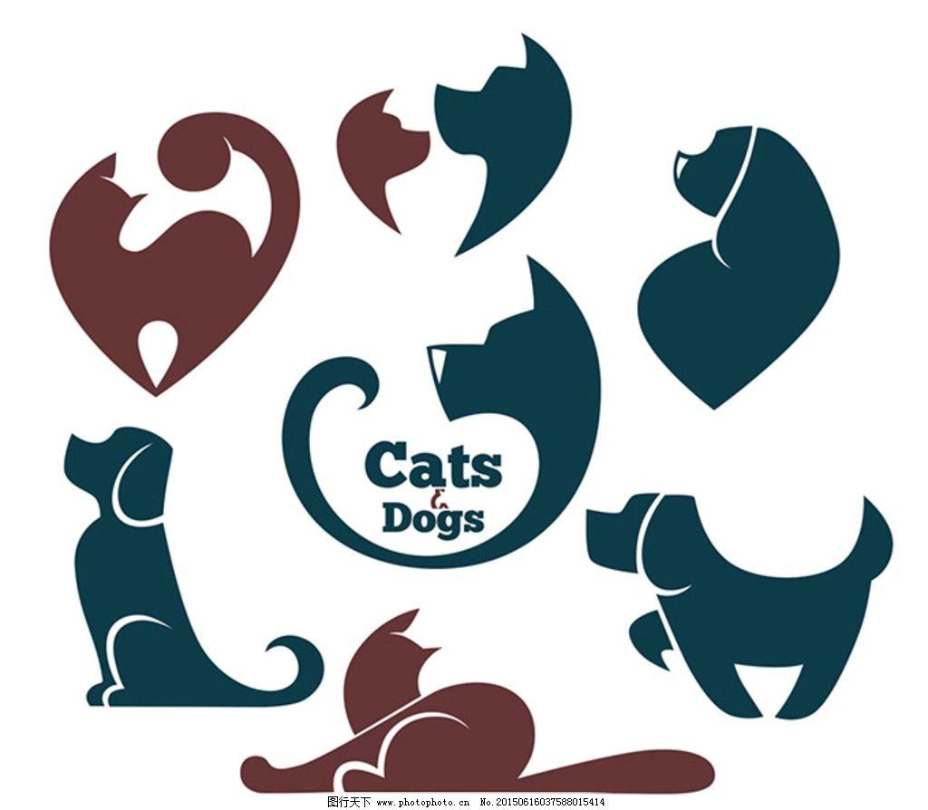 猫狗简约图案 扁平化 手绘 卡通动物 动物插画 小猫 小狗 简约图案