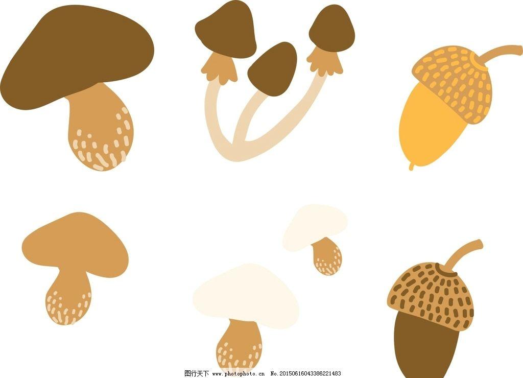 手绘蘑菇 松塔图片