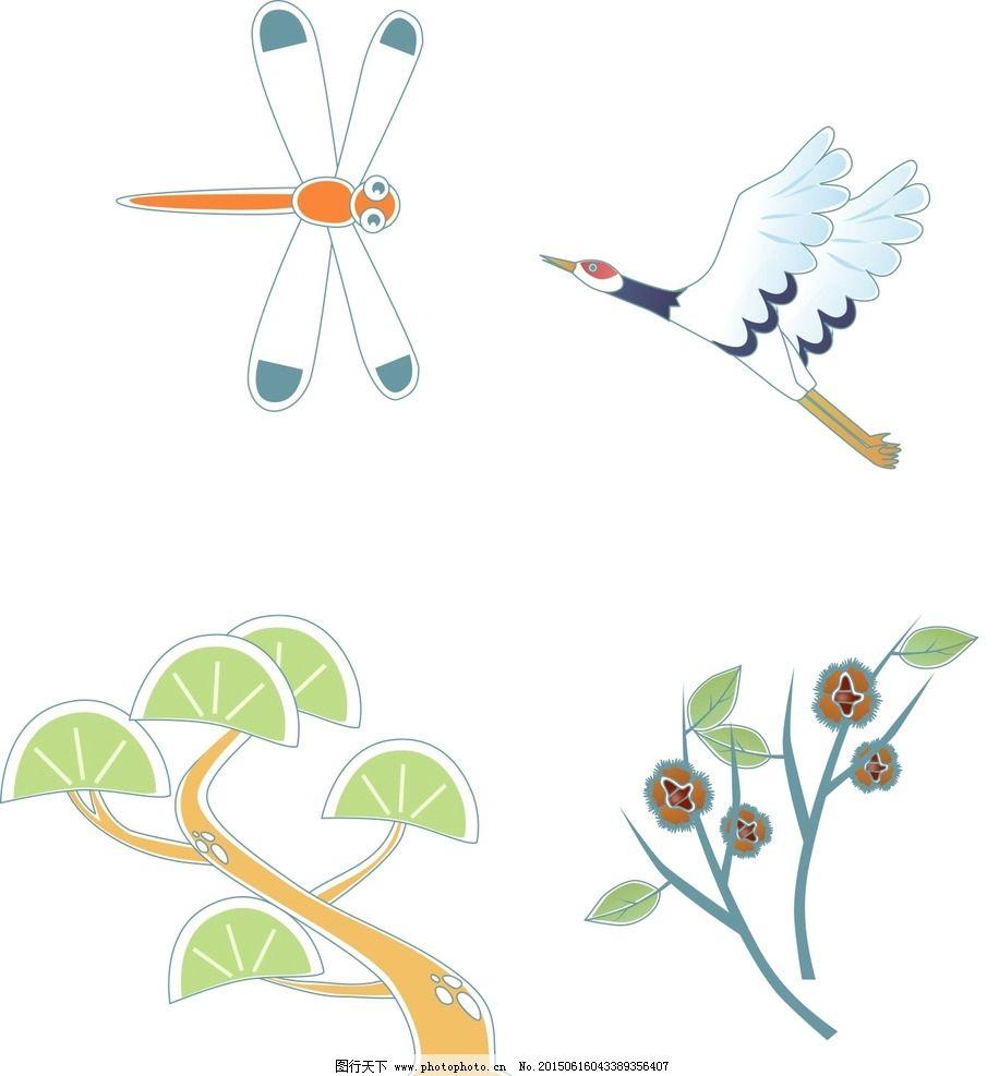卡通松树 蜻蜓图片