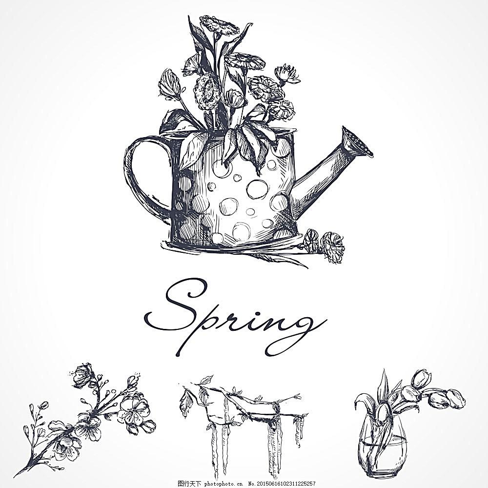 春天主题插画 花朵 鲜花插画 花卉 喷壶 其他 标志图标 矢量素材图片