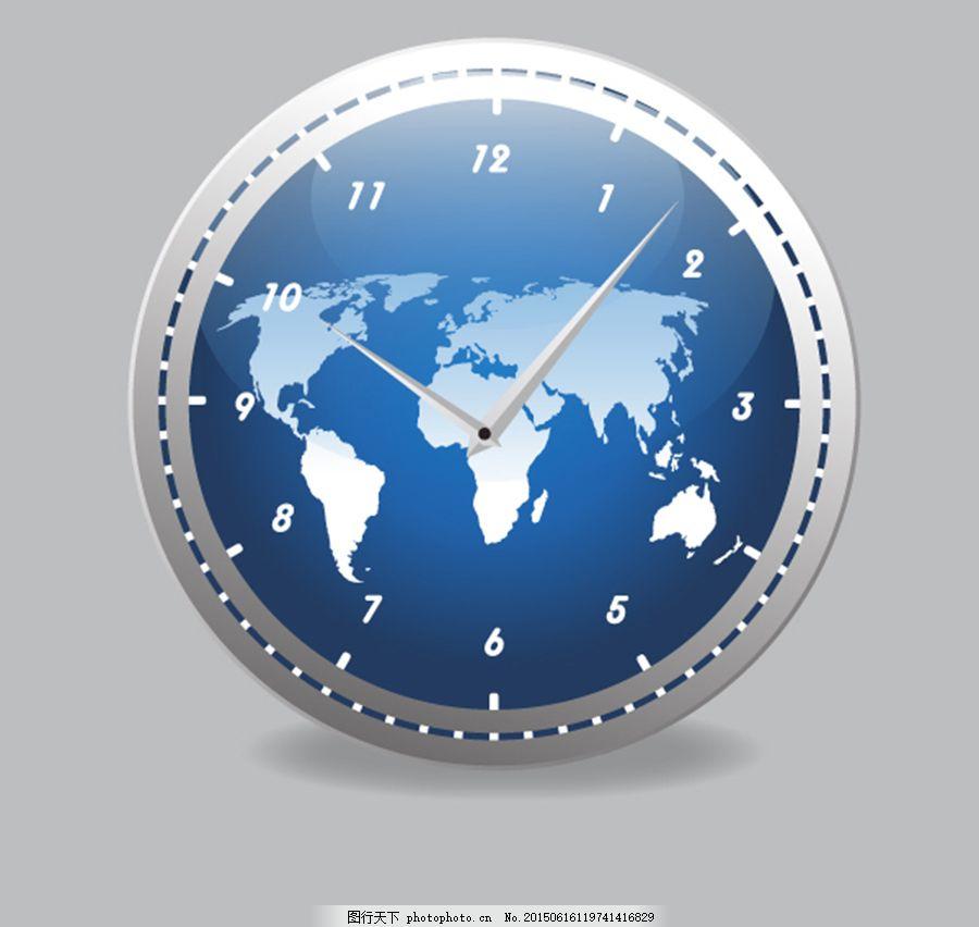 地球时钟素材 创意地图 蓝色