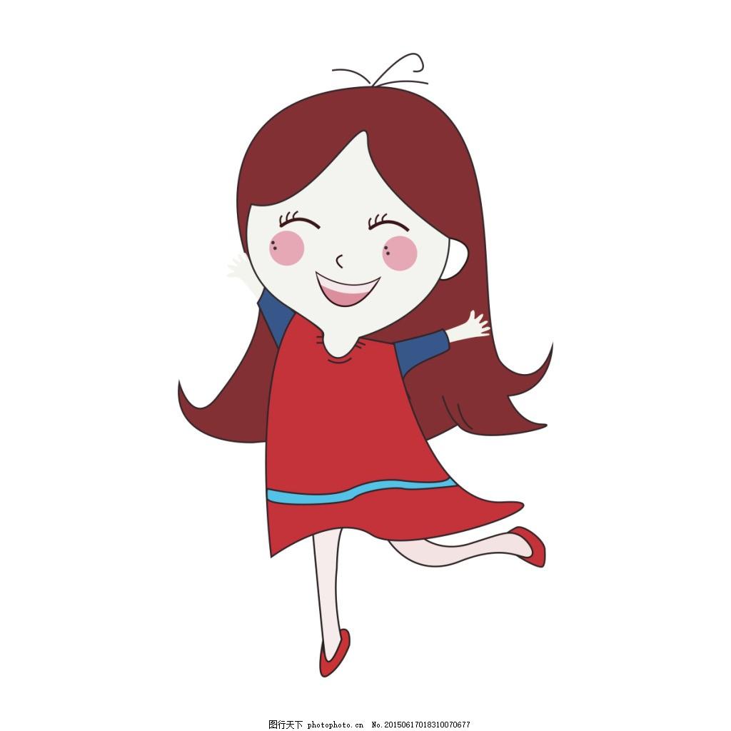 小女孩 插画人物 卡通 白色