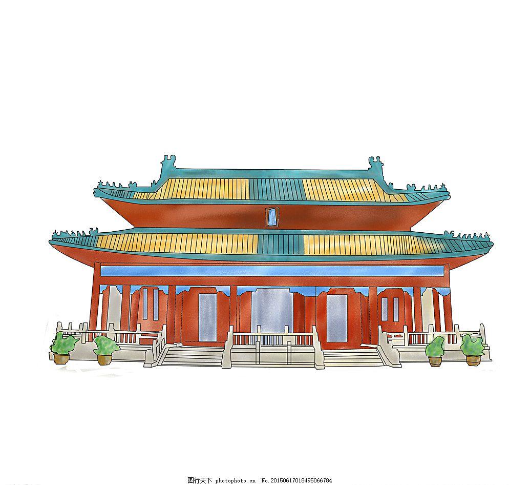 大兴善寺 古建筑 风景 名胜古迹 手绘插画 地标建筑 自然景观
