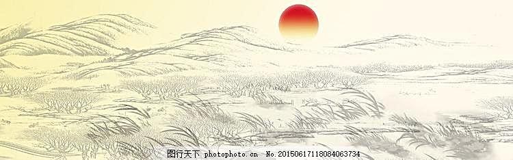 水墨画banner背景图 白色