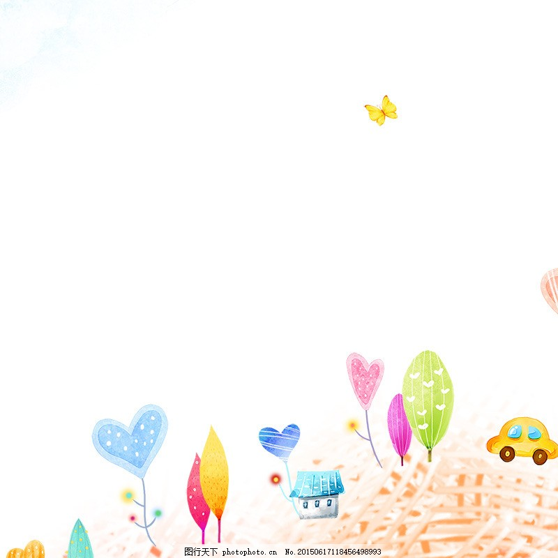 手绘卡通背景 卡通树 儿童背景 可爱 白色