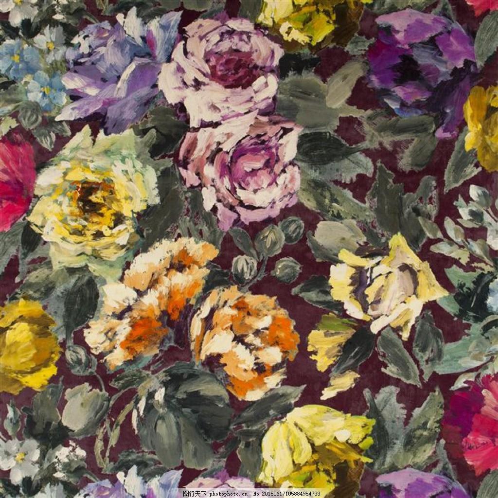 手绘花朵 面料花型 手绘大花 油画 黑色