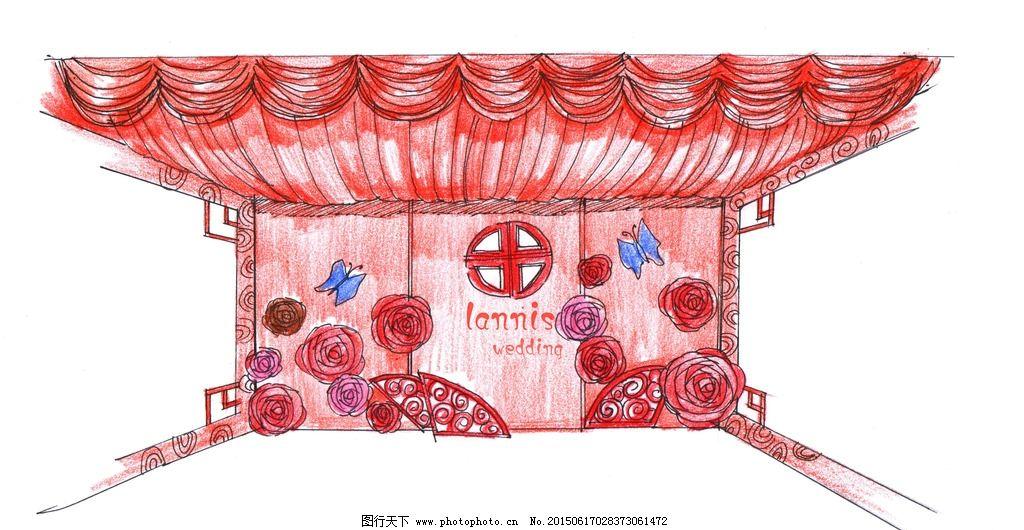 婚礼舞台背景设计手绘效果图图片