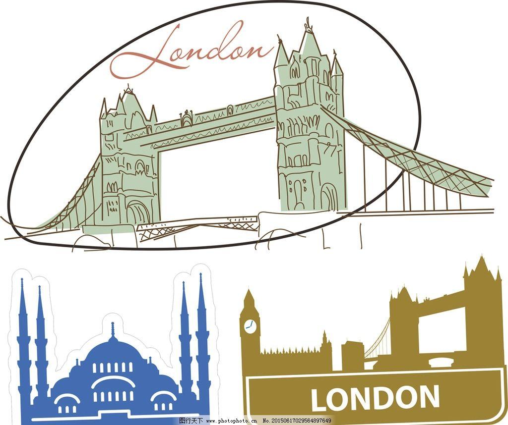 伦敦塔桥 手绘图片