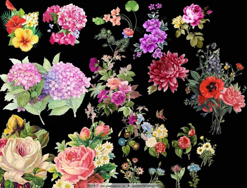 民族风手绘花朵免抠素材源文件图片