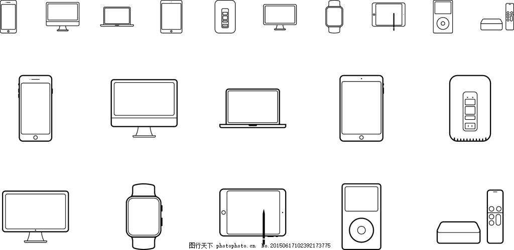 苹果设备线框图标
