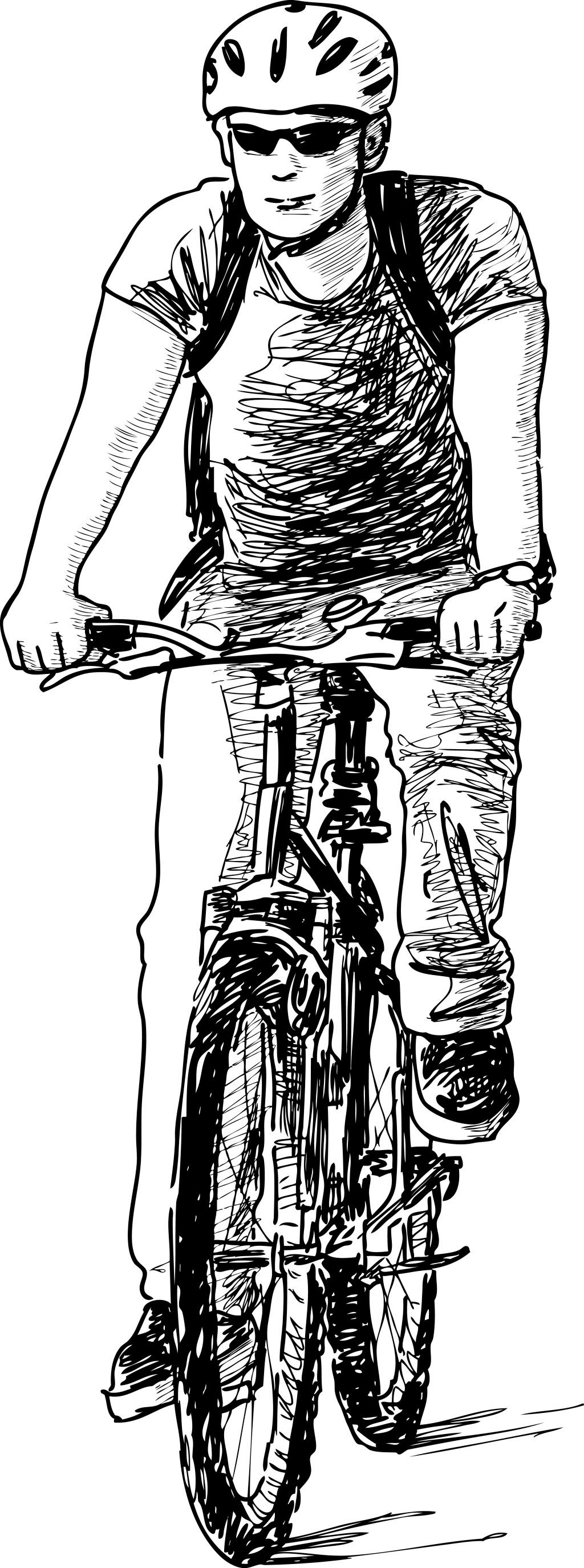 速写骑自行车的人