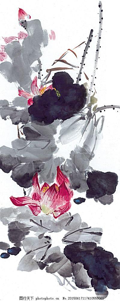 国画 中国画 文化 艺术 水墨画 植物 荷花 荷叶 泼墨 书画文字 文化