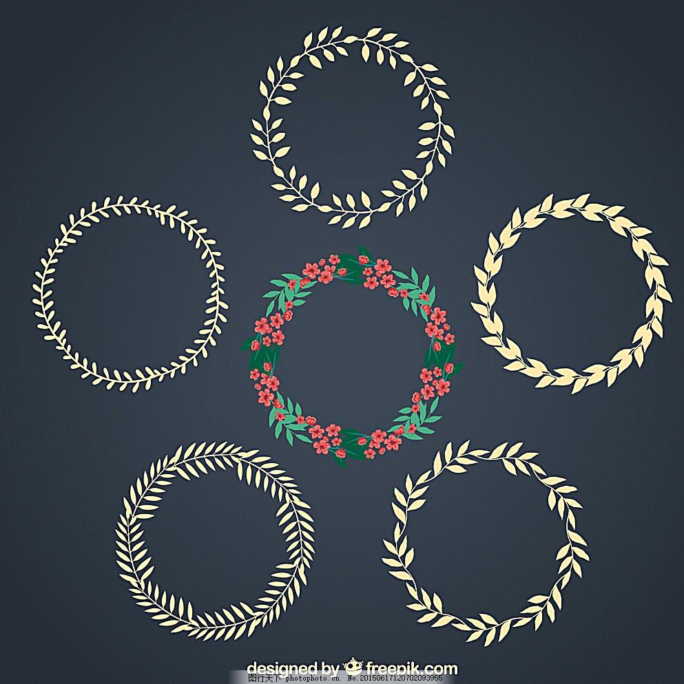 花环素材 花环 花 花圈 矢量 素材 设计 底纹边框 花边花纹 150dpi