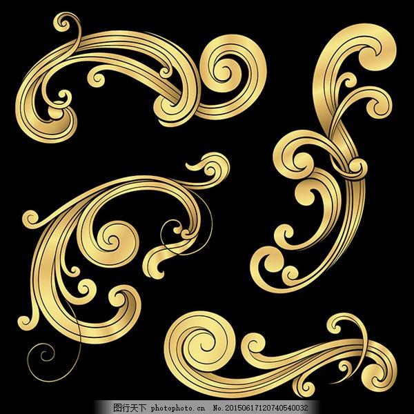欧式花纹 金色花纹 古典花纹 传统花纹 装饰花纹 金色华丽图案 底纹边