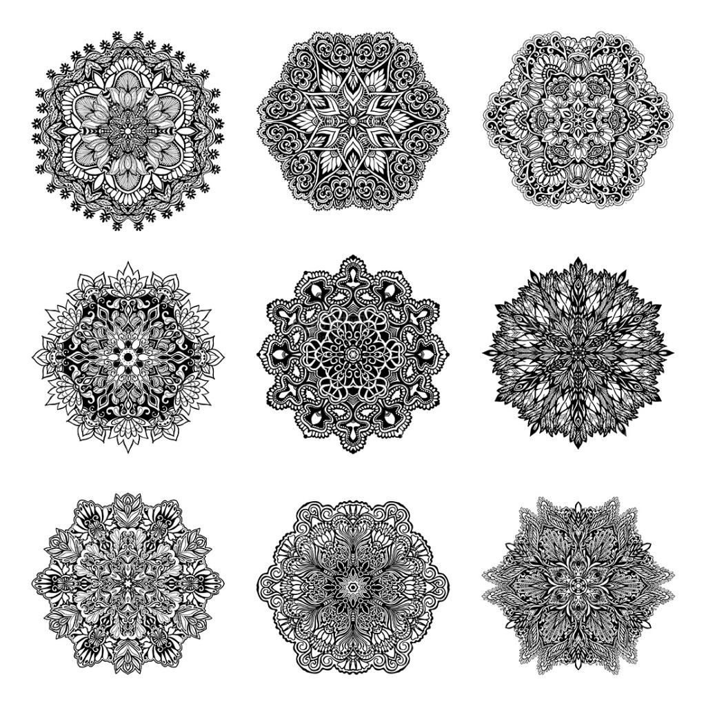 精美装饰花纹设计矢量素材对称花纹 黑白花纹 花纹装饰 欧式花纹圆环