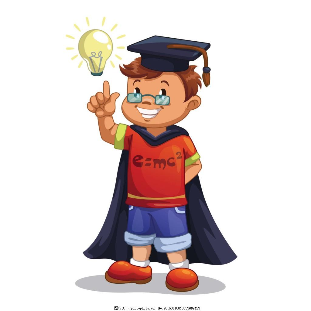 教育 学习 学校卡通小男孩 学生 学习的儿童 小朋友 儿童 幼儿卡通图片